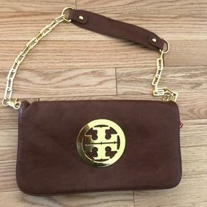 Brown gold Clutch good condition